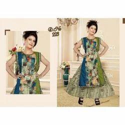 Ladies Printed Stitched Designer Sleeveless Silk Kurti