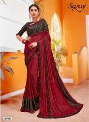 Red Color Designer Ruffle Lycra Saree