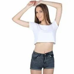 Cotton Round Neck Womens Half Sleeves Crop Top, Size: S-XXL