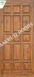 Natural And Walnut Wood Designer Mandir Wooden Door