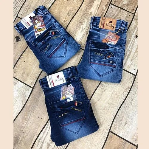 Men Denim Blue Faded Slim Fit Jeans