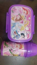 Plastic Printed Purple Lunch Box Set, Capacity: 500 Ml
