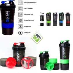 Spider Protein Shaker Bottle With 2 Storage Extra Compartment For Gym