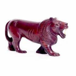 Brown Antique Wooden Lion Handicraft, for Decoration, Size: 8