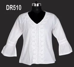 White Cotton Hand Embroidered Chikan Women's Short Top DR510