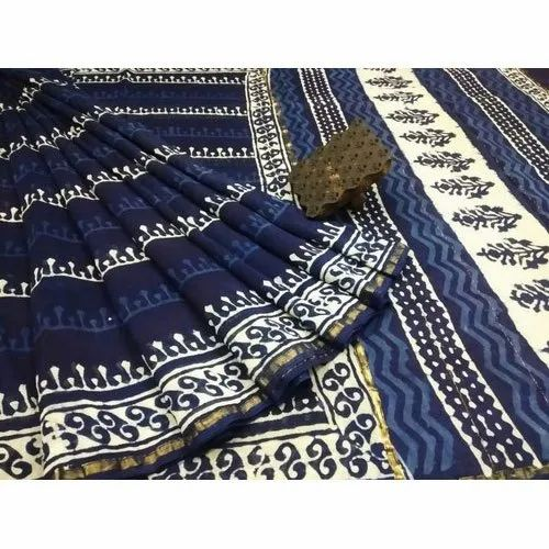 RB Impex Printed Chanderi Indigo Dabu Party Wear Saree, 6.3 m (with blouse piece), Packaging Type: Plastic Bag