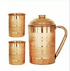 Designer Copper Jug with Glass