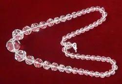 Transparent Glass Kesar ZemsSynthetic Sphatik Kantha 108 beds, For Wearing, Size: Neck Length