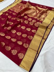 Wedding Wear border and butta pure chanderi masraised cotton silk saree, 6.3 Meter, With Blouse Piece