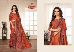 Printed Vichitra Saree with Lace - Shyam Leela