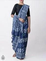 Bagru Hand Block Print Indigo Cotton Mulmul Saree