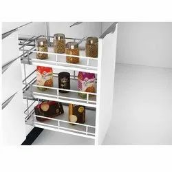 Silver 3 Shelf Stainless Steel Kitchen Pull Out Basket