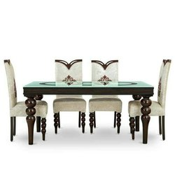 Four Seater  Dining Set with Top Glass