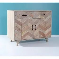 Wooden Zigzag Design 2-Door Accent Cabinet