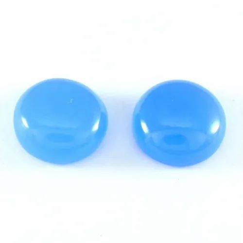 7x7 mm Natural Blue Chalcedony Round Cabochon Loose Gemstone