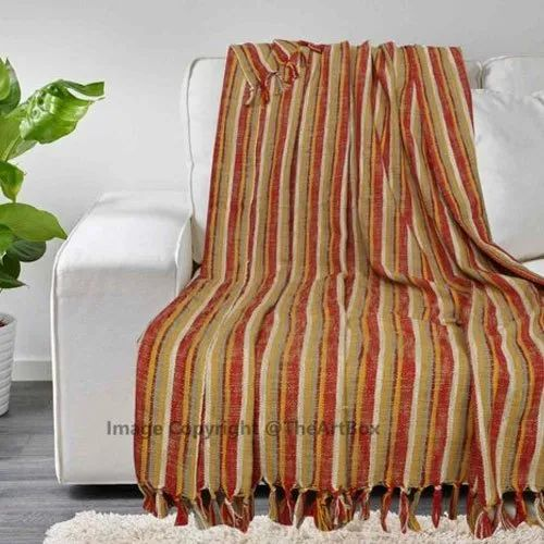 Cotton Striped Throws Handwoven Throw 100 Couch Fringed Sofa Blanket