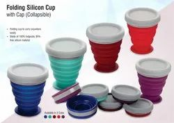Folding Silicon Cup With Cap (Collapsible) for Home, Office