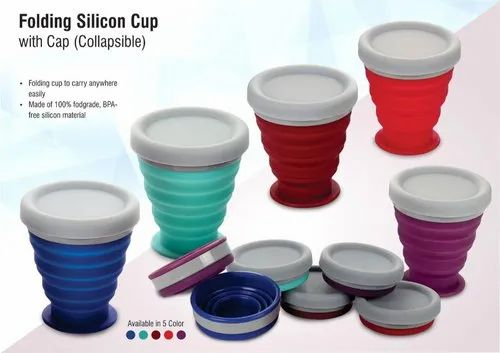 Folding Silicon Cup With Cap (Collapsible)