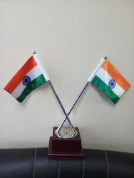 Wood, Stainless Steel Dual Flag Table Stand, for Decoration, Size: 6 Inches