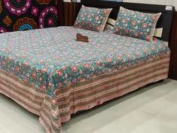 Hand Block Printed Cotton Designer Bed Sheet