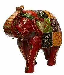 Handicarft Multicolor Wooden Elephant Statue, For Home Decor