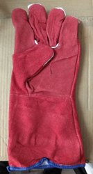 Unisex Red Leather Hand Gloves, For Industrial