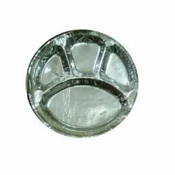 Silver 4CP 12 Inch Disposable Paper Thali, For Event and Party Supplies, Paper GSM: 120 Gsm