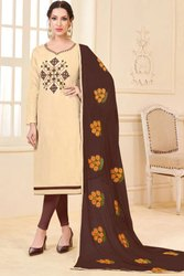 Cream Banglori Slub Suit With Embroidered Dupatta