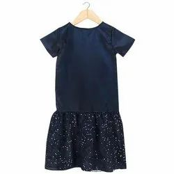 Satin And Lace Party Wear Kids Girls Navy Blue Partywear Dress