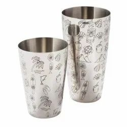 Bar Shakers Boston Shaker Etched  Design