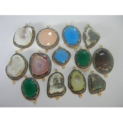 Gemstone Pave Set Gemstone Connectors