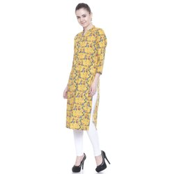 A-Line 3/4th Sleeve Yellow Printed Cotton Kurti