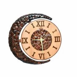 Teak Wood Analog Wall Mounted Wooden Clock