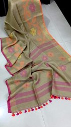 Floral Linen Handwoven Jamdani Saree