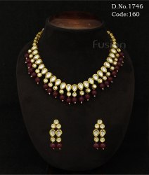 Traditional Vilandi Kundan Necklace Set with Ruby Pearl Beads