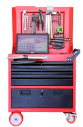 Rolling Work Station With 6 Drawer & Cabin With Perforated Panel For Hanging Tools