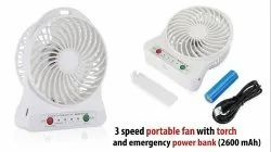 Portable Fan with Torch and Power Bank
