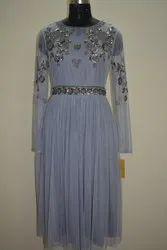 Party Wear grey Beaded Short Dress