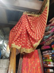 Wedding Wear Embroidered Silk Sarees, 6 m (with blouse piece)