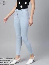 Blue Knee Slit Jeans