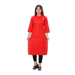 Straight 3/4th Sleeve Ladies Plain Cotton Kurtis, Wash Care: Handwash