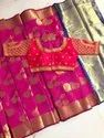 Banarasi Handloom Soft Silk Saree With Readymade Blouse