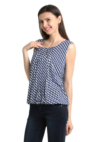 Round Neck Casual Wear Girls Sleeveless Top
