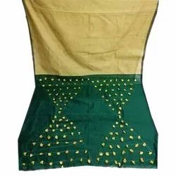 Green, Golden Printed Cotton Silk With Pom Pom Saree