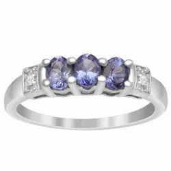 Three Stone 0.75 Ctw Tanzanite Gemstone 925 Sterling Silver Cluster Wedding Ring