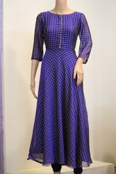 Blue Checked Full Sleeve Long Dress
