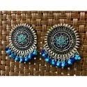 Oxidized Light and Dark Blue Beads Earrings
