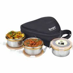 Lunch Box With 3 Containers, Size: 8.75 X 9.5 X 2.75