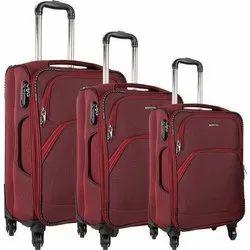 Nylon Plain Maroon Travel Suitcase