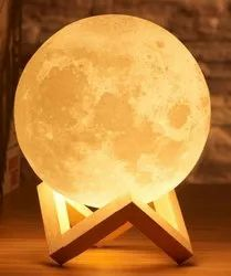 Tesseract Manual Moon Lamp Circuit (3 Color Version, Rechargeable, Touch Sensor) For Electronics, Lighting Color: Pure White